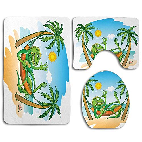 Bathroom Rug Set 3 Piece Green Iguana Smiling Waving Sunbathing Tropical Holiday Palm Trees with Hammock Bath Mat + Contour Rug + Toilet Lid Cover Non-Slip Bath Rug