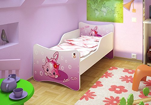 Best For Kids Kinderbett OHNE MATRATZE IN 8 GRÖSSEN UND 32 Designs + GRATIS (90x200, Little Kitty)