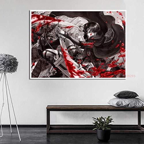 xiangpiaopiao Póster De Attack On Titan, Impresiones De Anime Japonés, Barra De Habitación Clara, Sala De Estar, Dormitorio, Decoración del Hogar, 40X50 Cm (6R-5761)