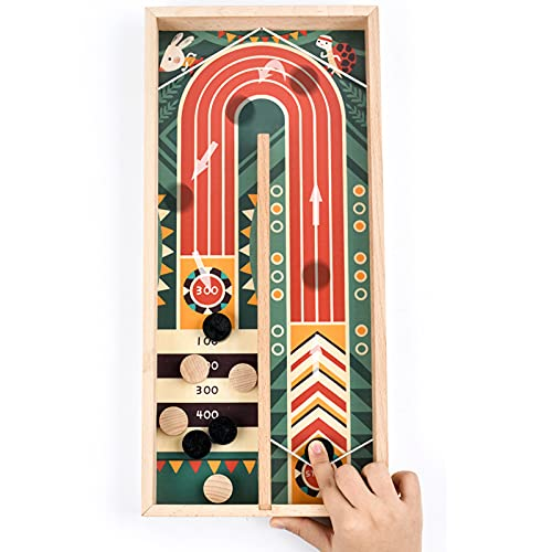 Dunmo Fast Sling Puck Juego de madera competitiva mesa y bola pinball juego de mesa de puntuación diseño rompecabezas juego para niños