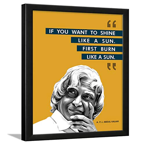 Chaka Chaundh - Suitable A. P. J. Abdul Kalam Motivational Quotes frames for office, student - Framed Posters with Frame – Quotes Wall Frames - Photos with Quotes - (13.5 X10.5 Inches) - Engineered Wood
