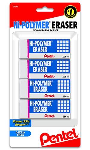 Pentel Hi-Polymer Block Eraser, Large, White, Pack of 4 (ZEH10BP4)
