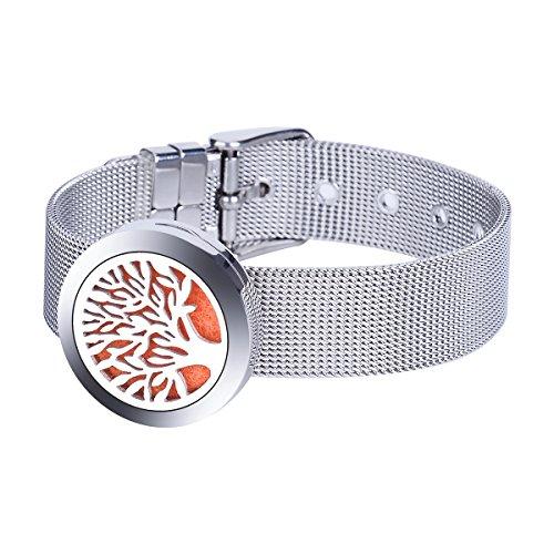 Preisvergleich Produktbild Aromatherapie ätherisches Öl Armband / Edelstahl hohl / Baum des Lebens / Openable Magnetic Sperrung Armband 15 cm + 4, 5 cm