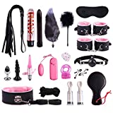 Weiches Fell PU Lederband Handschellen Anale Plug Nachricht Cosplay Kit 20 Stück Set-Pink