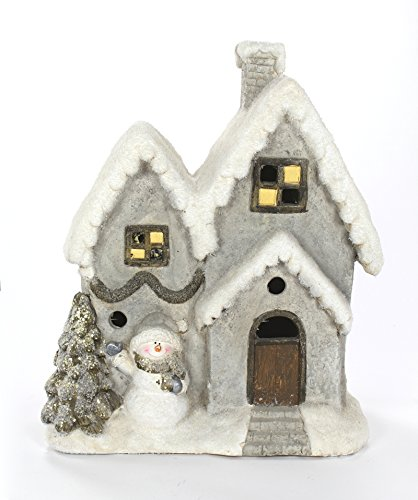 Deko Winterhaus 47cm beleuchtet