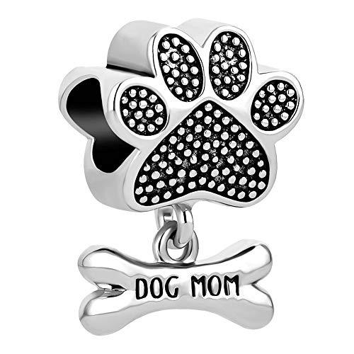 Sug Jasmin Dog Mom Paw Charms Pet Dog Bone and Paw Beads Fits European...