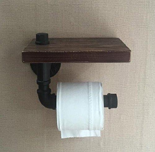 LHFJ Huishoudrek persoonlijkheid ijzeren buis toiletpapierhouder, industrieel retro wc-papierhouder, decoratief vintage badkamer, keuken, drijvend rek