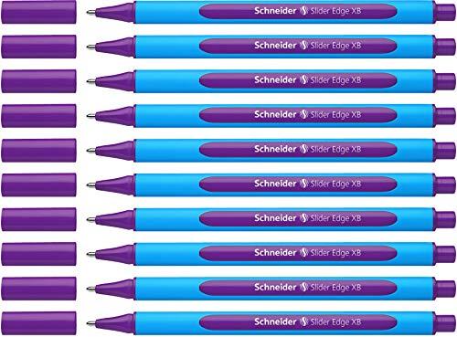 Schneider Slider Edge 152208 - Bolígrafo de punta redonda (10 unidades, incluye capuchón), color morado