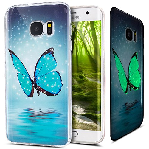 Kompatibel mit Galaxy S7 Edge Hülle,Galaxy S7 Edge Schutzhülle,Bunte Gemalt [Leuchtend Luminous] Handyhülle TPU Silikon Hülle Handy Hülle Case Tasche Schutzhülle für Galaxy S7 Edge,Blau Schmetterling