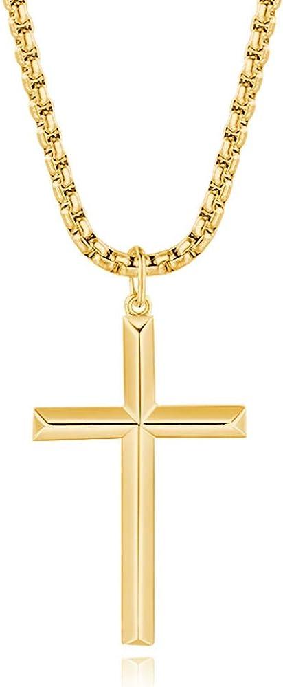 Fancime collana per uomo in acciaio con pendente croce in argento sterling 925 placcato oro Mens-Cross-Collection
