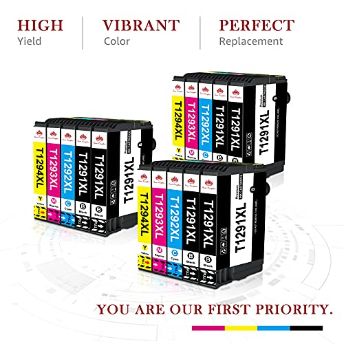Toner Kingdom Cartuchos de Tinta Compatibles de Reemplazo para Epson 129XL T1291 T1292 T1293 T1294 T1295 para Epson Stylus SX235W SX425W SX435W SX445W Workforce WF3520 Stylus Office BX305FW (15pk)