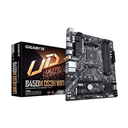 GIGABYTE B450M DS3H WiFi-Y1 (AM4//AMD/B450/mATX/SATA 6GB/s/USB 3.1/HDMI/Wifi/DDR4/Motherboard)