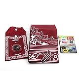 RGTR72 Muslimische Gebetsteppich mit Kompass, Taschengröße, tragbare schwarze Tragetasche und befestigter Kompass-Gebetsteppich, tragbar, Nylon, wasserdicht, einfache Gebetsmatte, rot, Free Size
