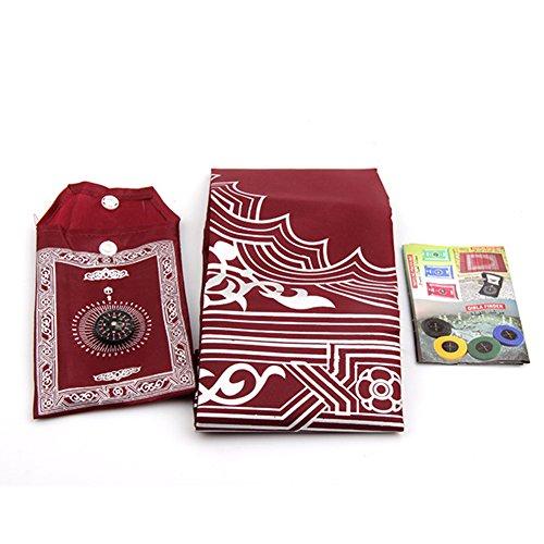 Tapis de prière musulmane avec Compass, taille de poche portable Noir Couleur Sac de transport et Attached Boussole priant Tapis Portable en nylon imperméable facile Tapis de prière, Red