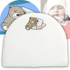 Bassinet Baby Wedge | Infant Wedge Pillow for Reflux Colic | Rounded Bassinet Wedge Sleep Positioner | Elevates Baby Incline Pillow | Tested Baby Safe Nursery Pillow | 13.8″(W) x 12.2″(L) x 2.6″(H)