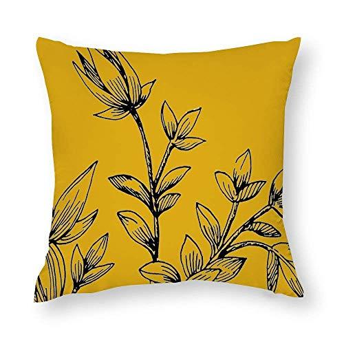 WH-CLA Funda de almohada de color mostaza, amarillo y negro, con cremallera impresa para el hogar, colorida funda de almohada de 45 x 45 cm, fundas de almohada para sofá, oficina, decoración del hogar