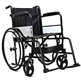 Giantex Wheelchair Medical Transport Manual Folding w/Footrest Handbrakes Adjustable Brake Tightness Speed 23' Large Rubber Wheels 8 Inch Casters 20' Leather Seat Back Wheelchairs, Black