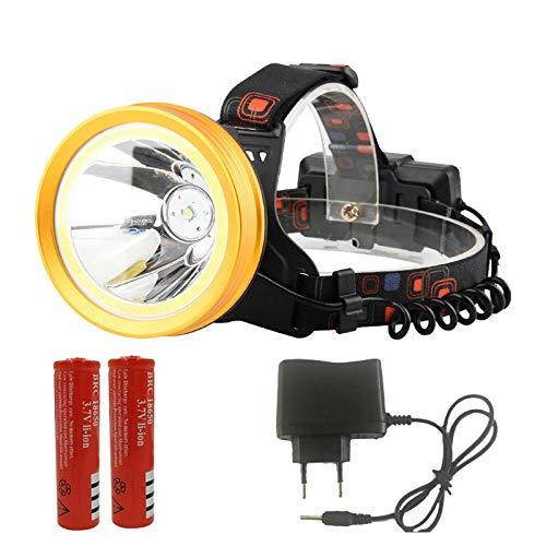 Linterna frontal XHP50 LED Linterna frontal XM-L T6 COB 18650 recargable Baterías reflectoras Linterna de cabeza de la linterna de la linterna del faro B