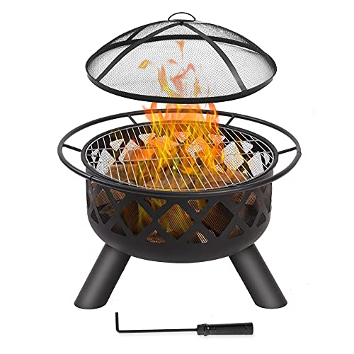 FAB BASED Fire Pit Outdoor Wood Burning, Firepit for Outside Portable, Outdoor Fire Pit with Grill...