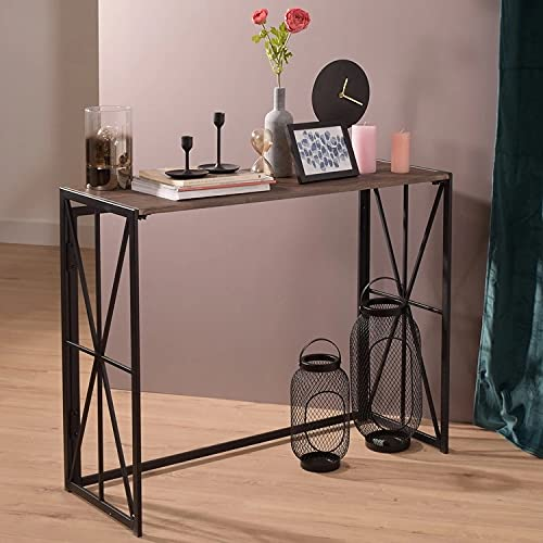 Petiture Folding Console Sofa Table, Entryway Wall Table for Living Room TV Entrance Table Kitchen Bar Table Industrial Home Office Folding Desk with Metal X-Frame 39 inch, Rustic Brown