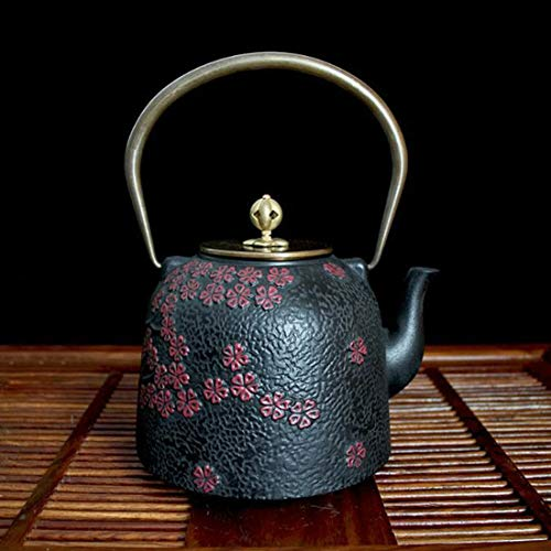 Tea Pot, Retro Cast Iron Tea Kettle, Small Easy Pour Handmade Japanese Tea Maker for Tea House Office Home, 1.3 Litre