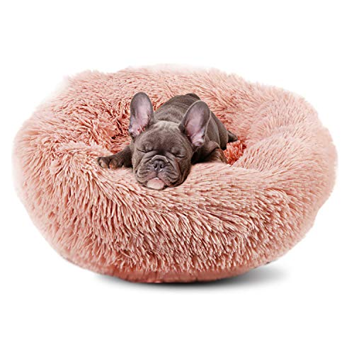 BIGTREE Long Plush Comfy Calming & Self-Warming Bed for Dog & Cat, Anti Anxiety, Furry, Soothing, Fluffy, Washable Ped Bed Pink - Small 19.5'
