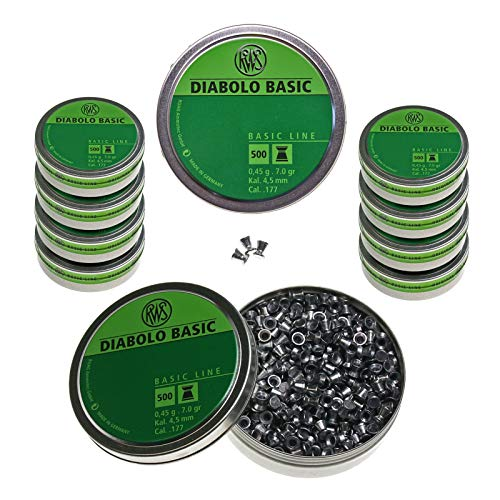 RWS Diabolo Basic Line 4,5 mm, 5000 Schuss (10 Dosen je 500 Stück)
