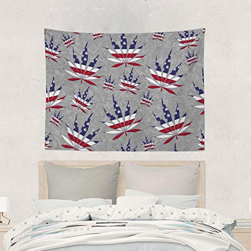 Psychedelic Tapestry Wall Hanging, Boho Mandala Tapestry, USA Flag Marijuana Leaf, Red White And Blue Stars And Stripes Wall Tapestry, Wall Creative Decoration, Wall Art Picnic Mat Blanket Tablecloth