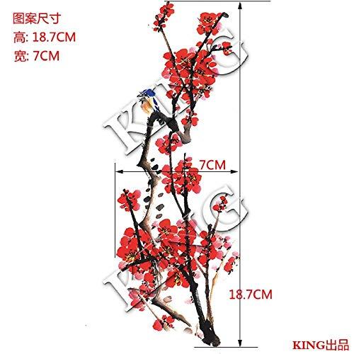Pegatinas de impermeables femeninas de larga duración flores de ciruelo rojo ciruela acuarela pintura china foto estudio foto placa cicatrices