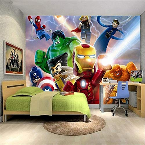 QJCBH Selbstklebende 3D Wallpaper (B) 200X (H) 150Cm Foto 3D Movie Character League Wallpaper Kinderzimmer Cartoon Animation Kinder Schlafzimmer Raumdekoration Tv Hintergrund Wandverkleidung