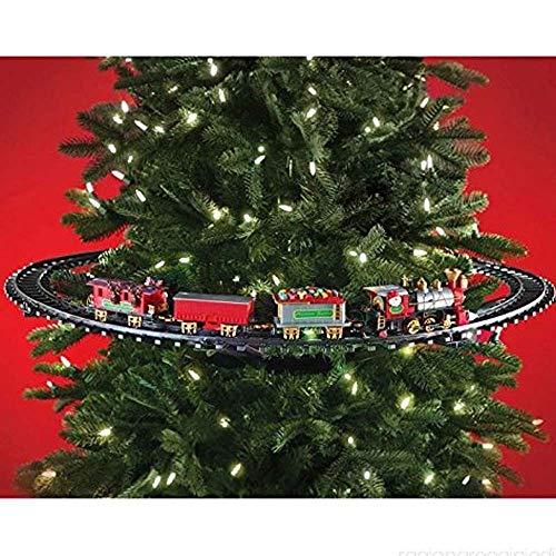 Christmas Presents Trenino Natalizio Con Supporto Installazione Per Centro Albero Di Natale Treno Elettrico 3 Vagoni Con Luci Natalizie Diametro Pista 89 Cm