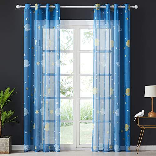 Topfinel Voile Vorhänge mit Ösen Planet Sterne Mustern Dekoschal Lange Gardine für Kinderzimmer Fenster Schlafzimmer 2er Set 245x140cm (HxB) Blau