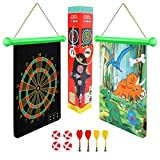 BeebeeRun Magnetic Dart Board Game for Kids and Adult,Indoor Outdoor Games,Roll-Up Double-Sided Dinosaur Dart...