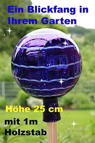 Gartenkugel (R4+Stab) Rosenkugel Gartenkugeln Glas 25 cm groß Rosenstab Gartenstecker