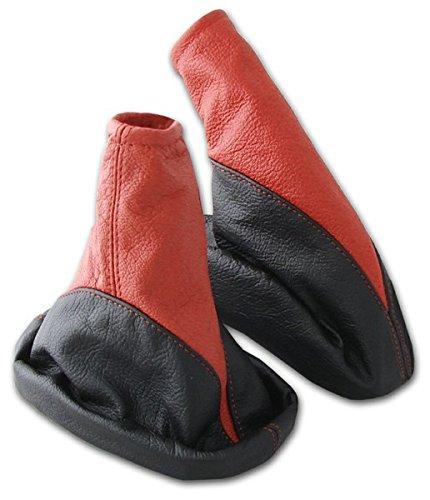 L&P A106-2 Kit Soufflet Sac Manchette manchon de commutation 100% cuir véritable veritable rouge noir noire couture fil rouge et frein à a main stationnement parking transmission manuelle boîte boite vitesse vitesses changement vitesse noir rouge