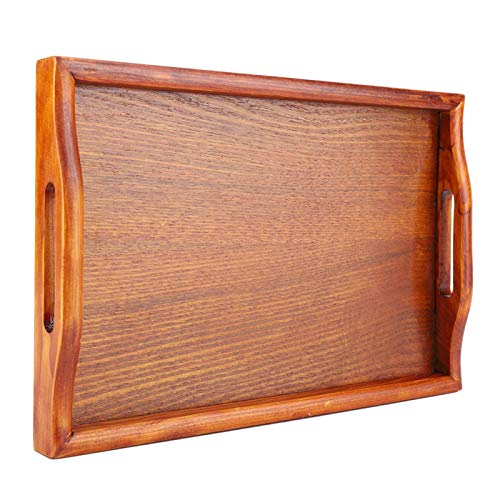Bandeja para servir con asa, grande de madera para servir té Bandeja para bebidas de agua Bandeja de madera para servir té para el desayuno para la cocina, el comedor, el desayuno y la vajilla