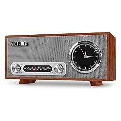 Victrola Bluetooth Analog Clock Stereo with FM Radio and USB Charging, Mahogany
