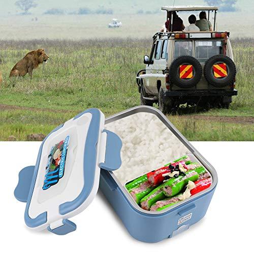 1.5L Fiambrera Recargable para Coche Caja de Almuerzo de Calefacción Portátil Caja de Bento Eléctrica Seguro para Viajar Recreación al Aire Libre Turismo Cámping con Palillos Tenedor Cuchara (12V)