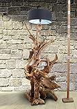 Standlampe Holz Teak RIAZ XL 200cm   Lampe aus Wurzelholz in Handarbeit gefertigt   mit Lampenschirm   Außergewöhnliche Stehlampe Holz aus echter Teak Wurzel   Teakholzlampe   Treibholz Lampe - 8
