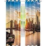 Cortinas opacas para ventana con diseño de paisaje urbano de Brooklyn Bridge y Lower Manhattan Hudson River Center of Fashion Art and Culture, 2 paneles de 52 x 95 cm