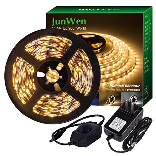 JUNWEN LED Strip Light Warm White,12V Soft Dimmable LED Lights Strip,Flexible Undercabinet Tape Lighting,16.4ft Bedroom String Light
