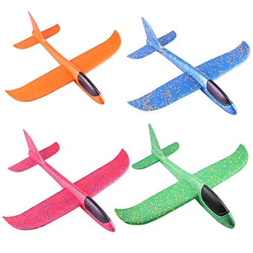 4 piezas Avión de espuma de poliestireno,juguete para niños Planeador de tiro al aire libre Planeador de espuma de lanzamiento manual Modelo de vuelo Equipo de juego Regalo para Niño Niña Cumpleaños