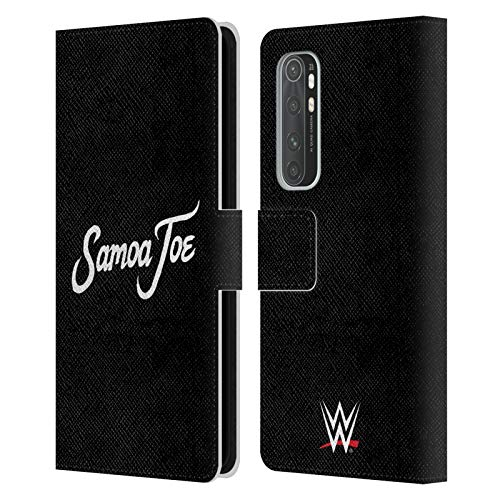 Head Case Designs Officially Licensed WWE Logo Samoa Joe Leather Book Wallet Case Cover Compatible with Xiaomi Mi Note 10 Lite