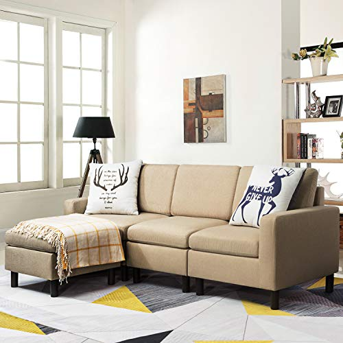 Waleaf Convertible Small Sofa Sectional with Reversible Chaise, L-Shape 3-Seater Sofa Couch with Modern Linen Fabric, Living Room Indoor Sleeper with Ottoman for Small Space (Beige)