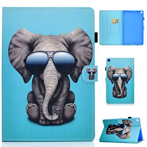 L&Btech Funda para Samsung Tab A7 10.4'' 2020 Carcasa Protectora de Cuero PU, con Soporte para Tarjeta y función de Soporte, para Galaxy Tab A7 10.4' SM-T500/T505/T507- Gafas Elefante