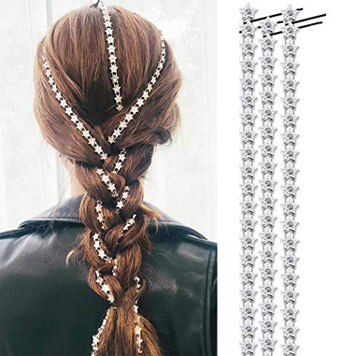 Campsis Punk Star Hair Clips Silver Hair Extension ChainMulti Strand Tassel Head Chain Fashion Festival Indian Prom Party for Women and Girls(Pack of 3)