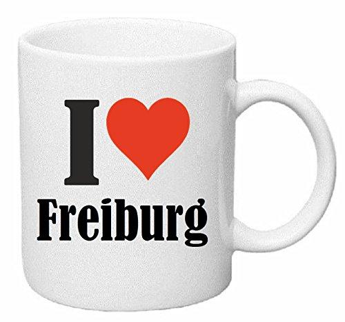 Reifen-Markt Kaffeetasse I Love Freiburg Keramik Höhe 9,5cm ? 8cm in Weiß