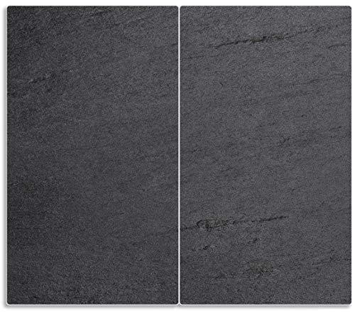 Wallario Herdabdeckplatte/Spritzschutz aus Glas, 2-teilig, 60x52cm, für Ceran- und Induktionsherde, Schwarze Schiefertafel Optik – Steintafel