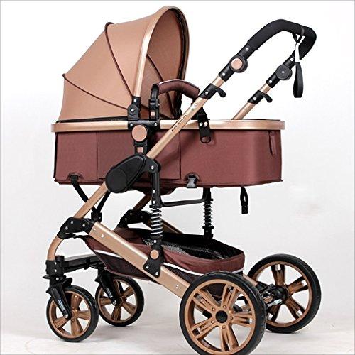 Strollers DD Bicicleta de bebé El Cochecito Plegable para bebés recién Nacidos Puede Sentarse y Dormir Cochecito de bebé Durante 1 Mes - Carro de Cuatro años de 4 Ruedas Triciclo Bebe (Color : Caqui)