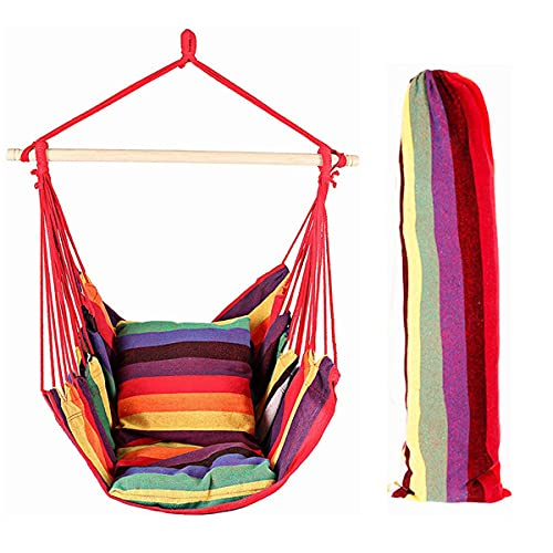 EverKing Hanging Rope Hammock Chair Porch Swing Seat, Large Hammock Net Chair Swing, Cotton Rope Porch Chair for Indoor, Outdoor, Garden, Patio, Porch, Yard - 2 Seat Cushions Included (Red Stripe)